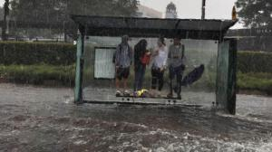 Bus stop in Randwick during storm